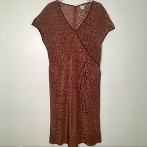Isabella Bird Silk Dress in Plum Brown Motif Print